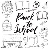 Back to School lettering quote, Hand Drawn Doodles, Vector Illustration