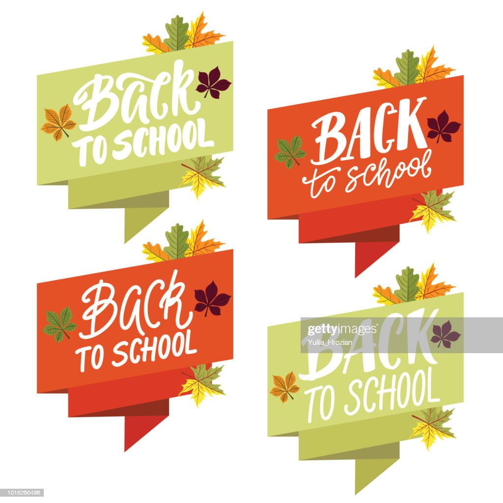 Back to school lettering set on ribbon banner with autumn leaves.