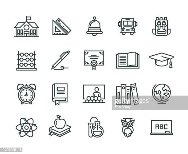 back to school line icon - instructor stock illustrations