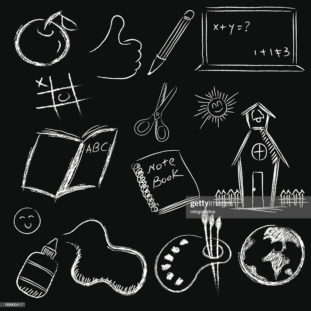 back to school on blackboard set