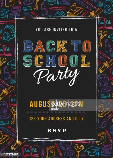 学校パーティー招待テンプレートに戻る - イラストレーション - 新学期点のイラスト素材/クリップアート素材/マンガ素材/アイコン素材