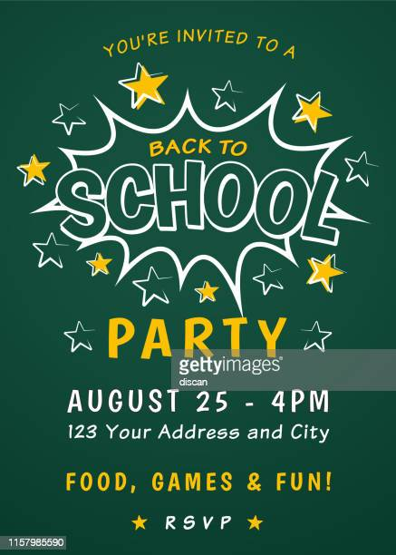 Back to School Party Invitation Template.