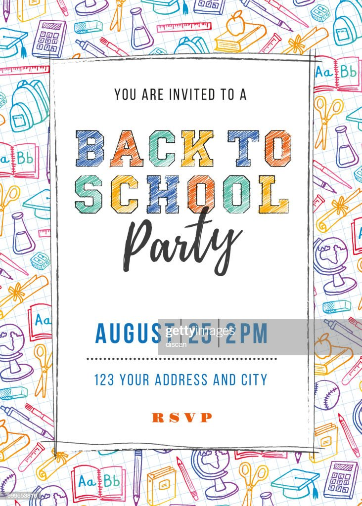 Back to School Party Invitation Template : stock illustration