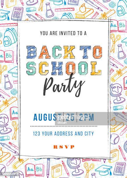back to school party invitation template - august stock illustrations