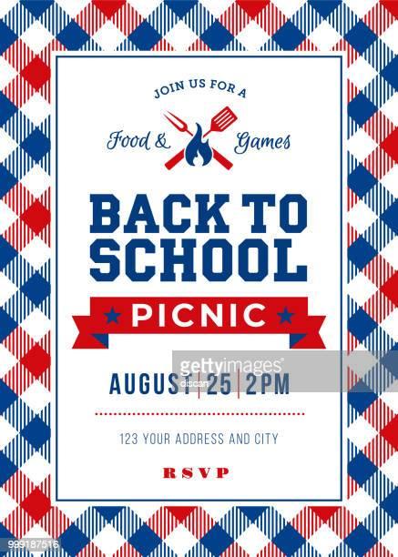 back to school picnic invitation template - picnic blanket stock illustrations, clip art, cartoons, & icons