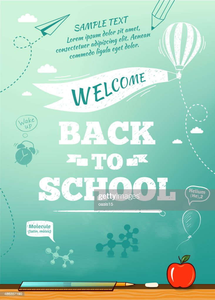 Back to school poster, education background. Vector illustration