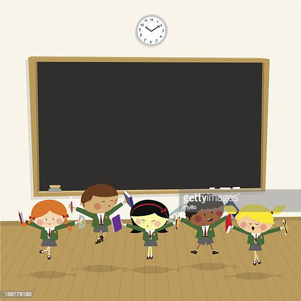 back to school. pupil happy classroom,kids illustration vector - school uniform stock illustrations, clip art, cartoons, & icons