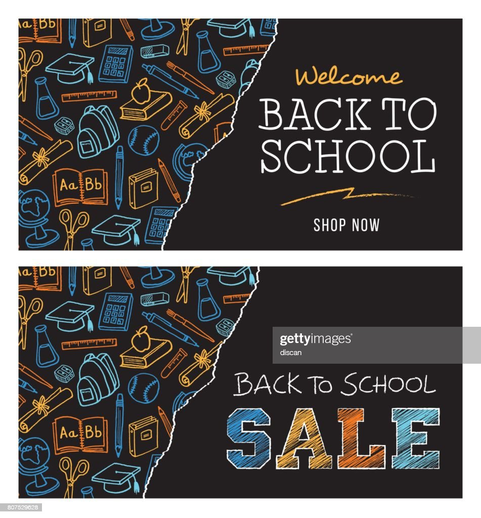 Back to school sale banner : stock illustration