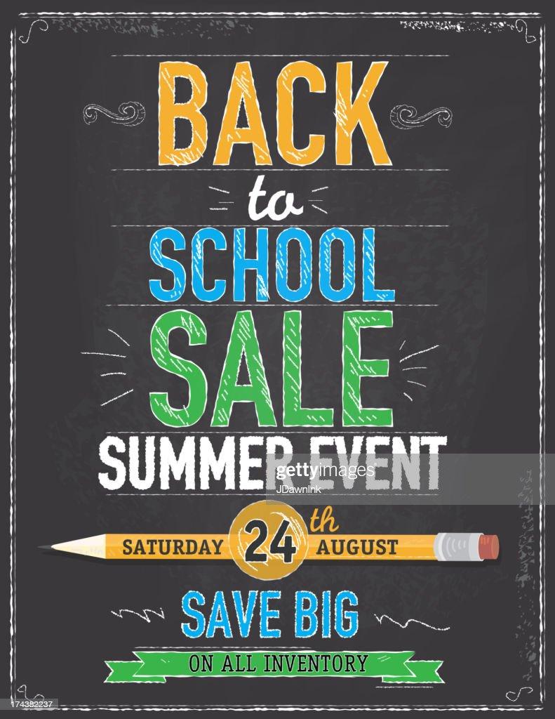 Back to school sale chalkboard design template : stock illustration