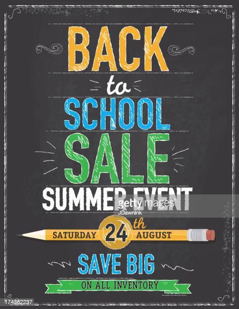 Back to school sale chalkboard design template