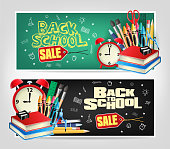 Back to School Sale Die cut Banners with Colorful Elements