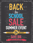 Back to school sale poster chalkboard design