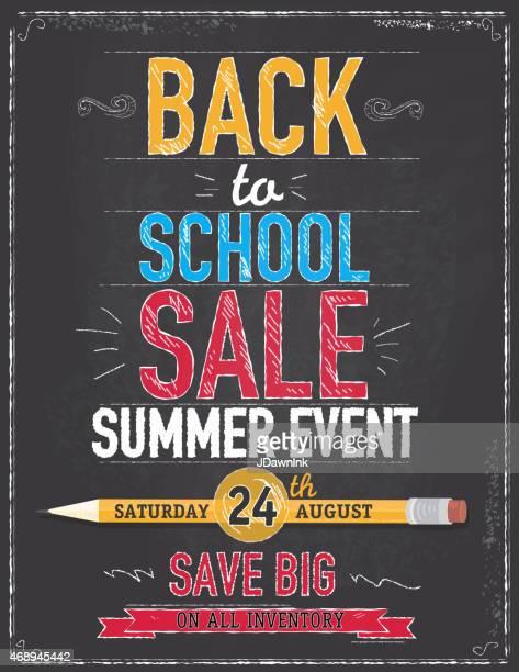 back to school sale poster chalkboard design - back to school stock illustrations