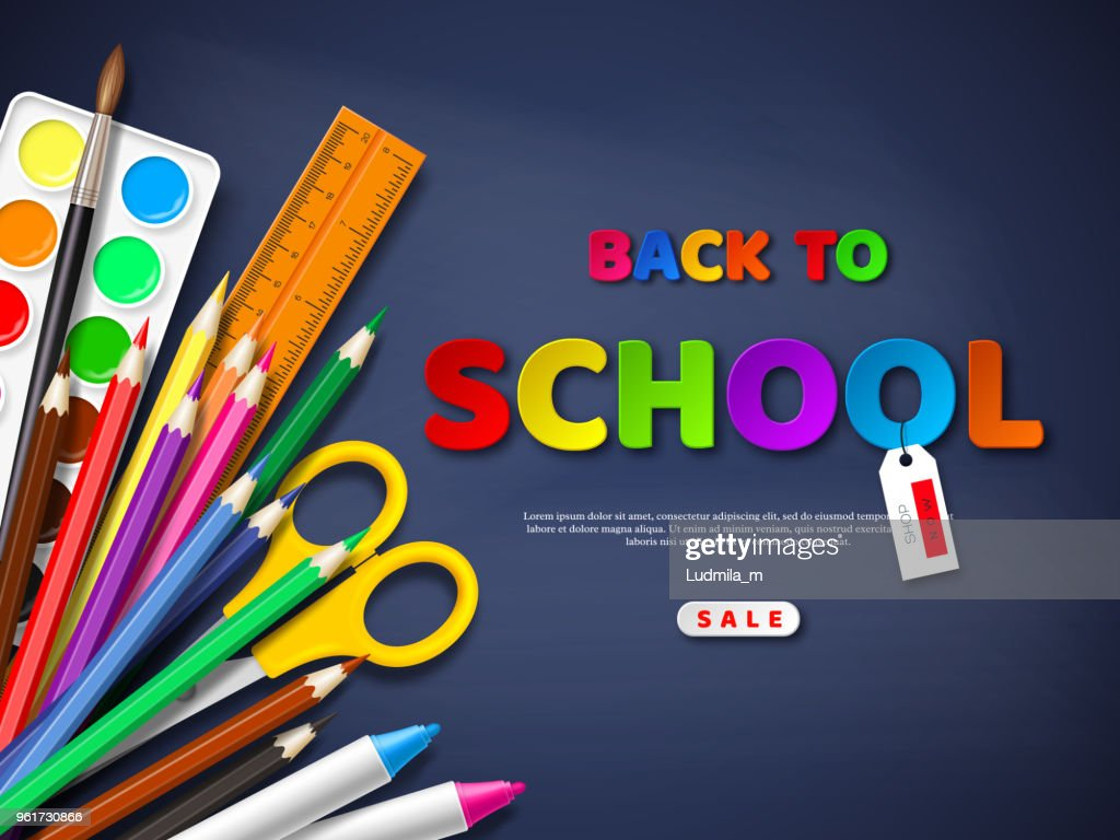 Back to school sale poster with realistic school supplies. Paper cut style letters on blackboard background. Vector illustration. : stock illustration