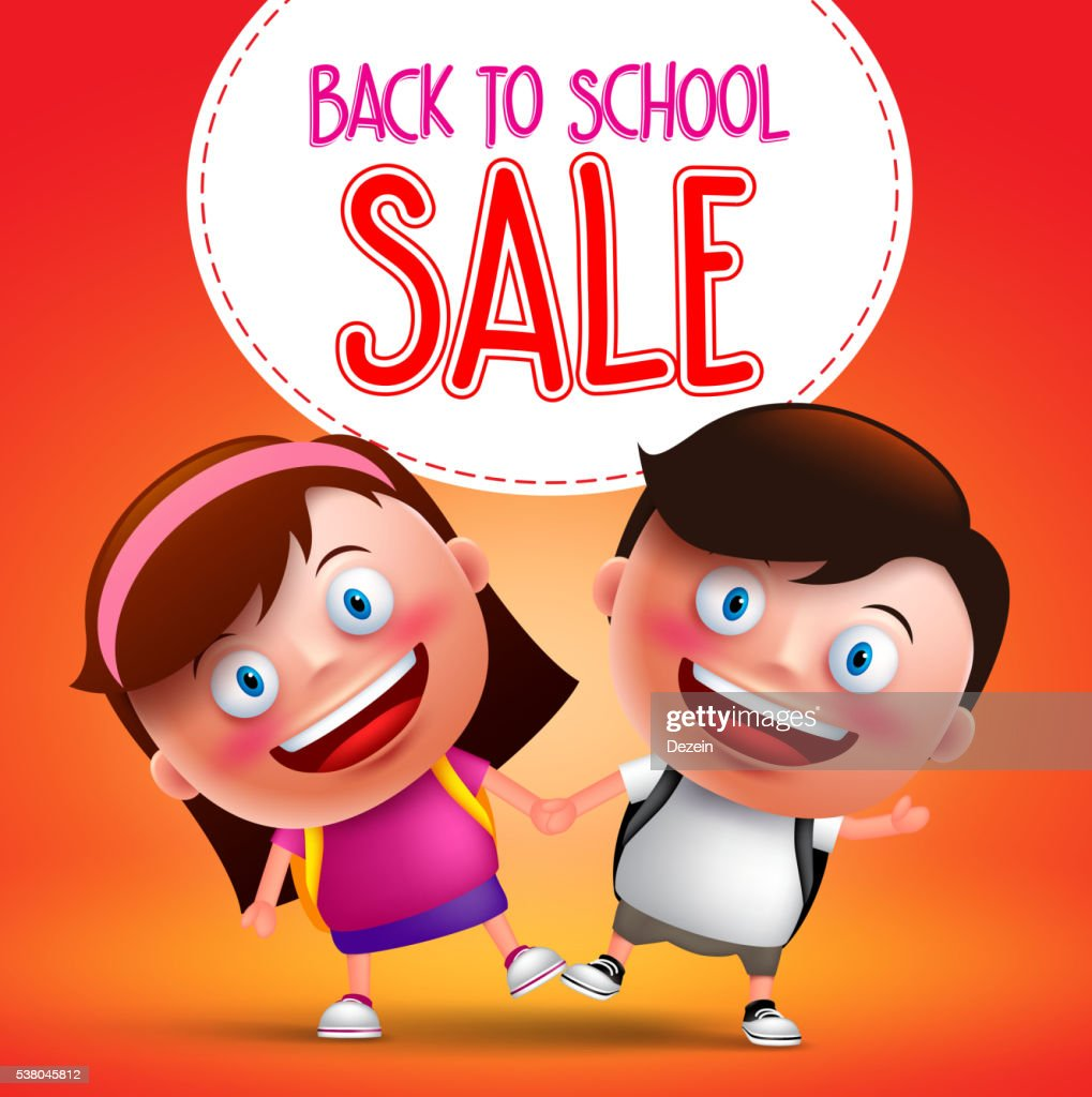 Back to school sale text with kids students vector character
