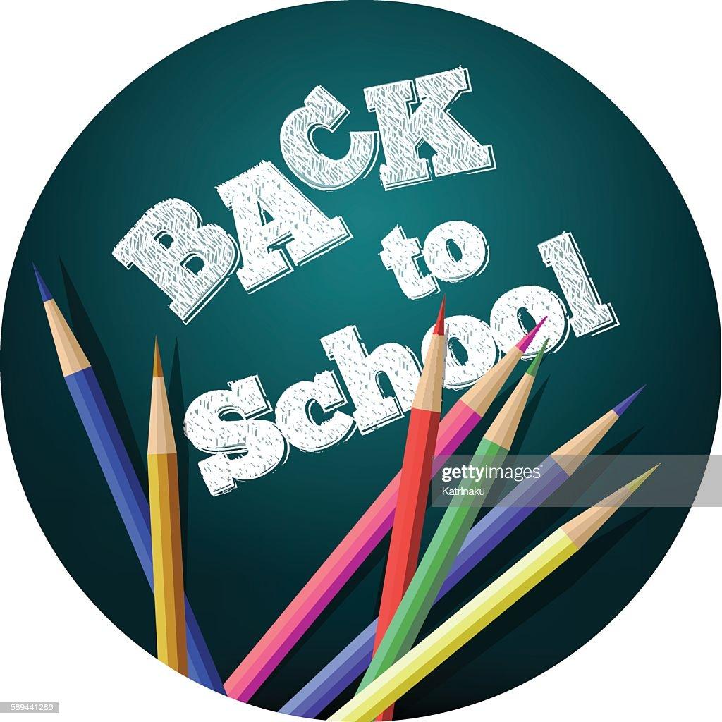 Back to school.  School icons on a blackboard. Vector