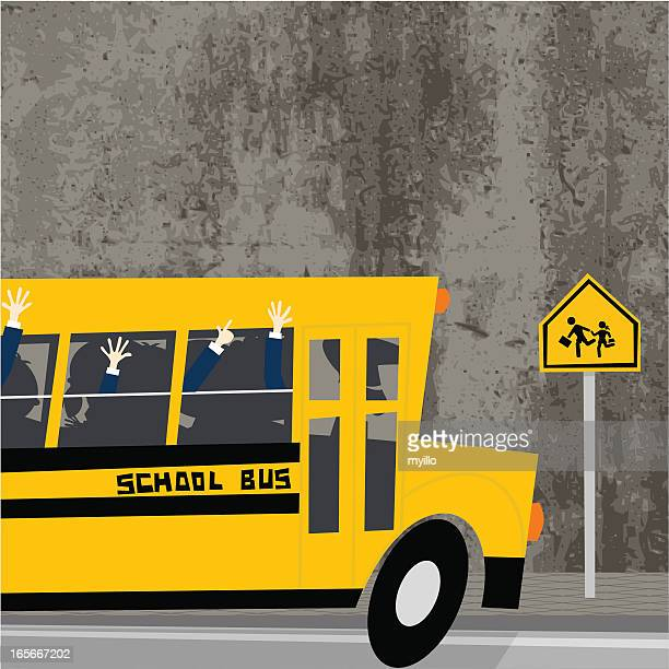 back to school , schoolbus - crossing sign stock illustrations, clip art, cartoons, & icons