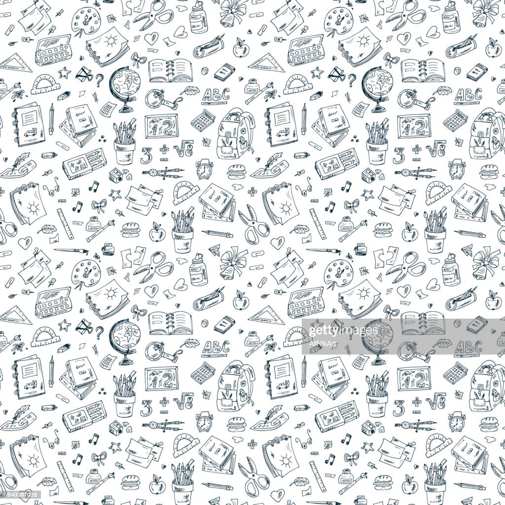 Back to school. Seamless pattern of doodle school supplies