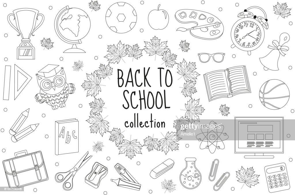 Zurück Zu Schulereihe Von Icons Linienart Bildungsammlung Von Doodle ...