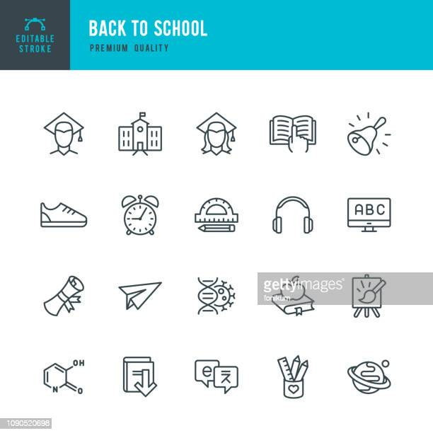 back to school - set of line vector icons - space and astronomy stock illustrations