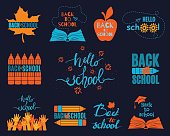 Back to School set of logos on dark background. All labels isolated and layered. Colorful vector kit