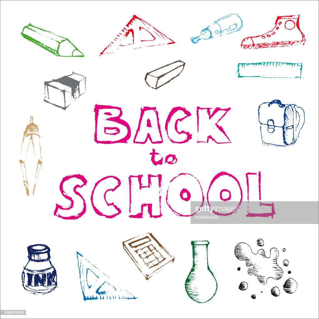 Volta para a escola-conjunto de ilustrações Escola Sarrabisco : Arte vetorial