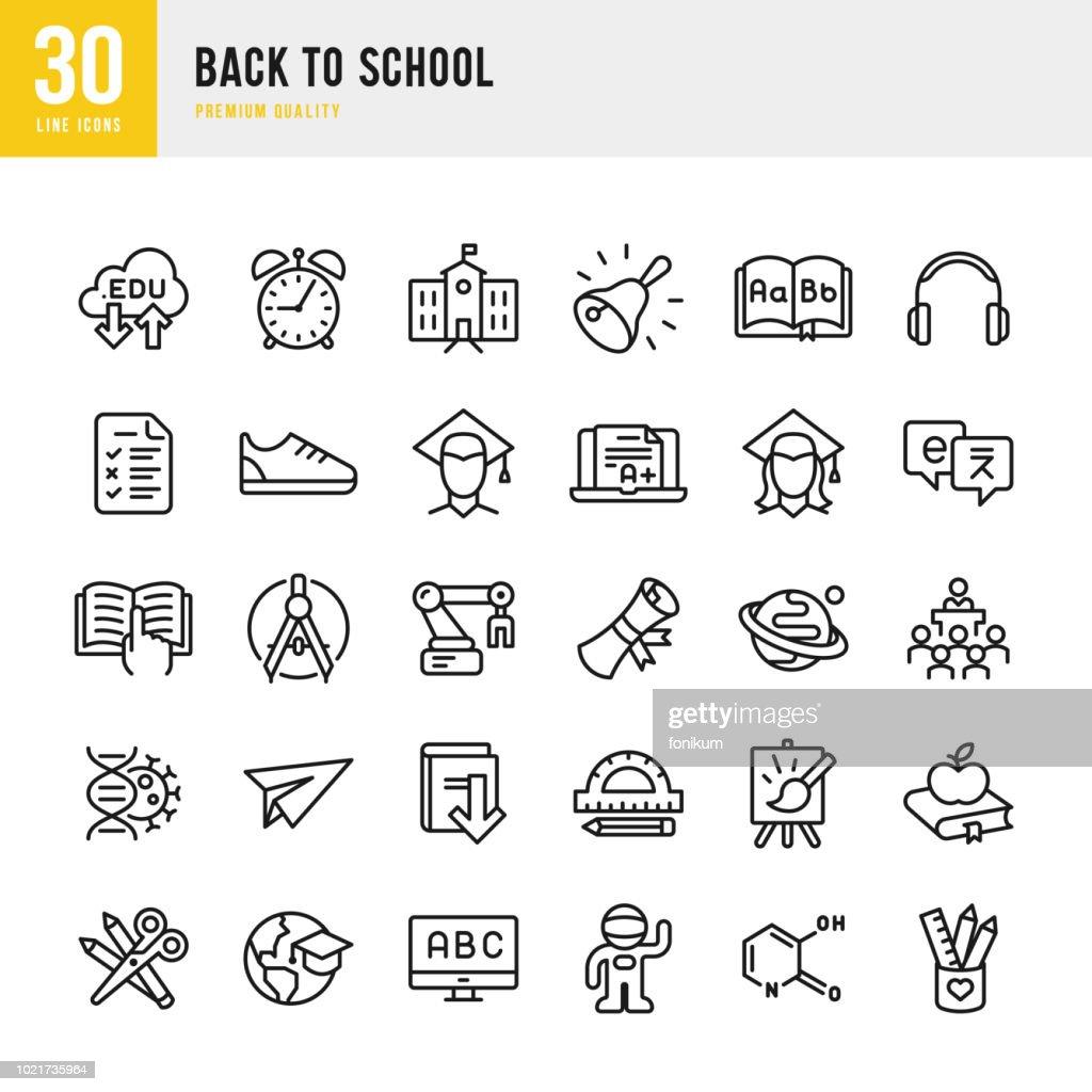 Terug naar School - instellen van dunne lijn vector iconen : Stockillustraties