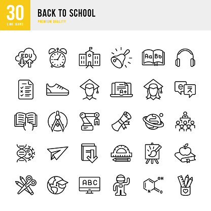 Back to School - set of thin line vector icons - gettyimageskorea