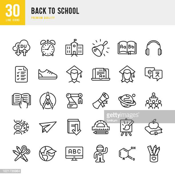 back to school - set of thin line vector icons - learning stock illustrations