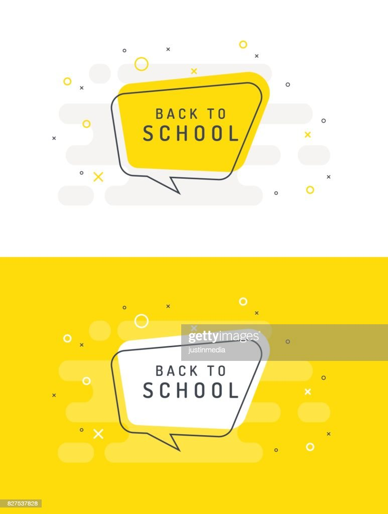 Back to school. Set trendy flat vector bubble. White and yellow colors.
