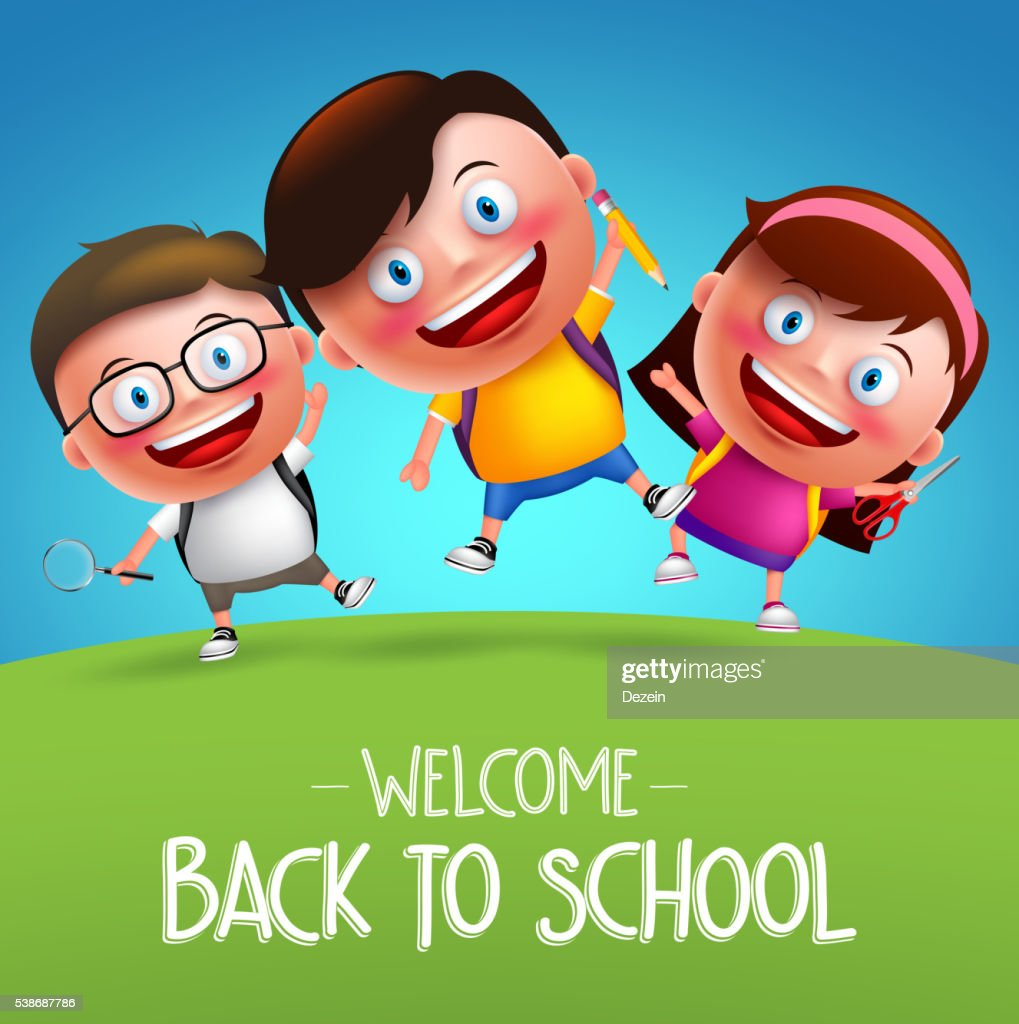 Back to school students vector characters funny kids