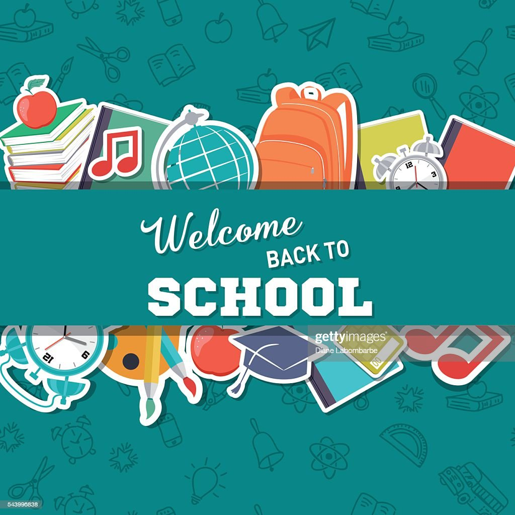 White Education Background Vector Vector Art Graphics: Back To School Supplies Background Vector Art