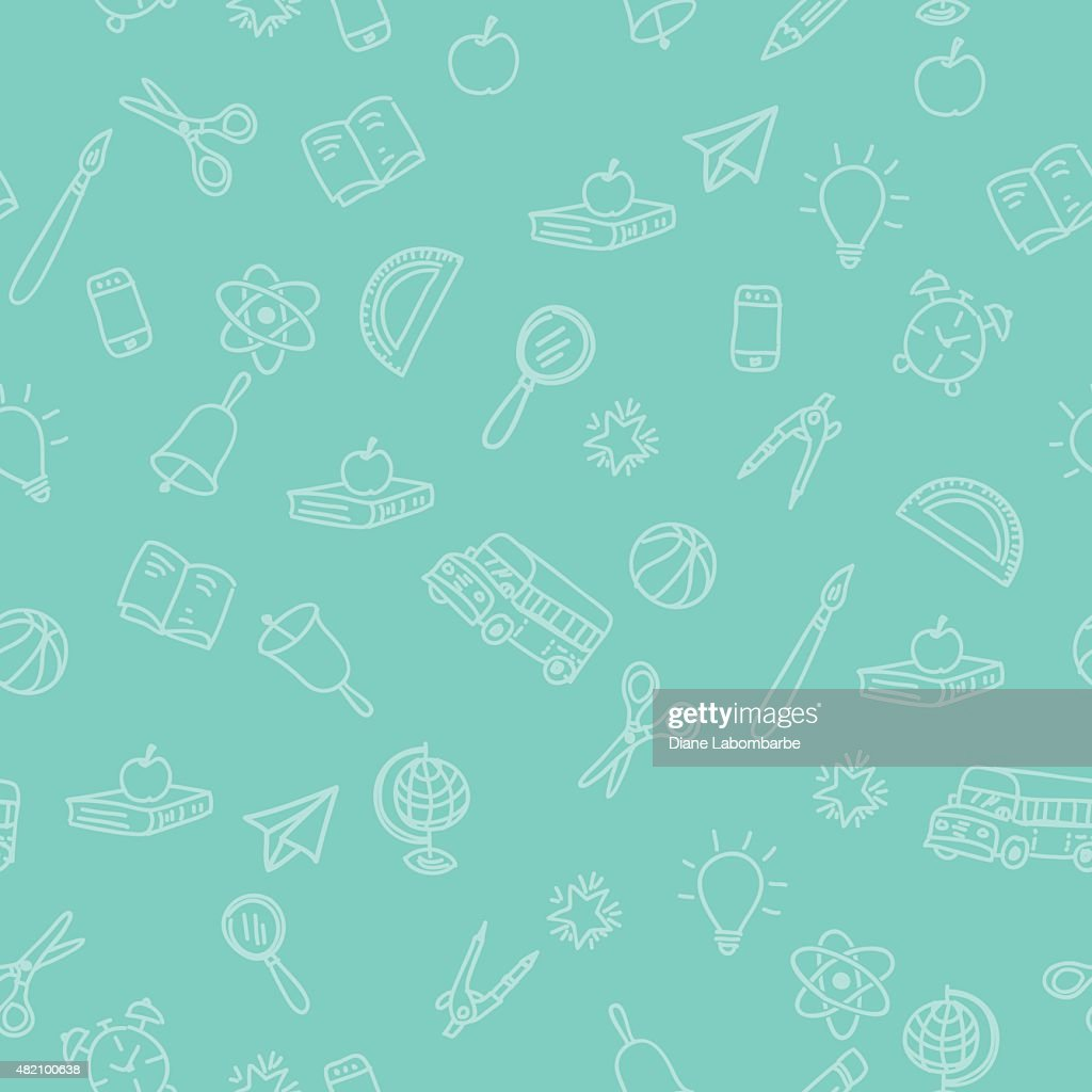 Back To School Supplies Background With Seamless Pattern : stock illustration