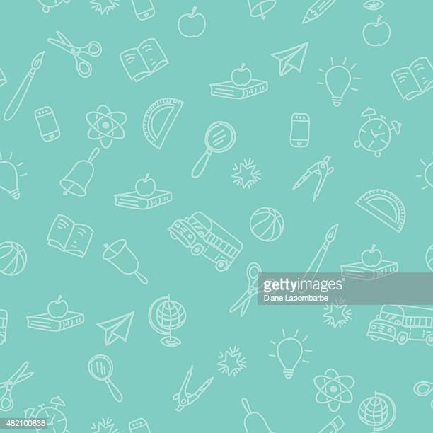 ilustraciones, imágenes clip art, dibujos animados e iconos de stock de de vuelta a la escuela patrón sin costuras fondo con fuentes - edificio escolar