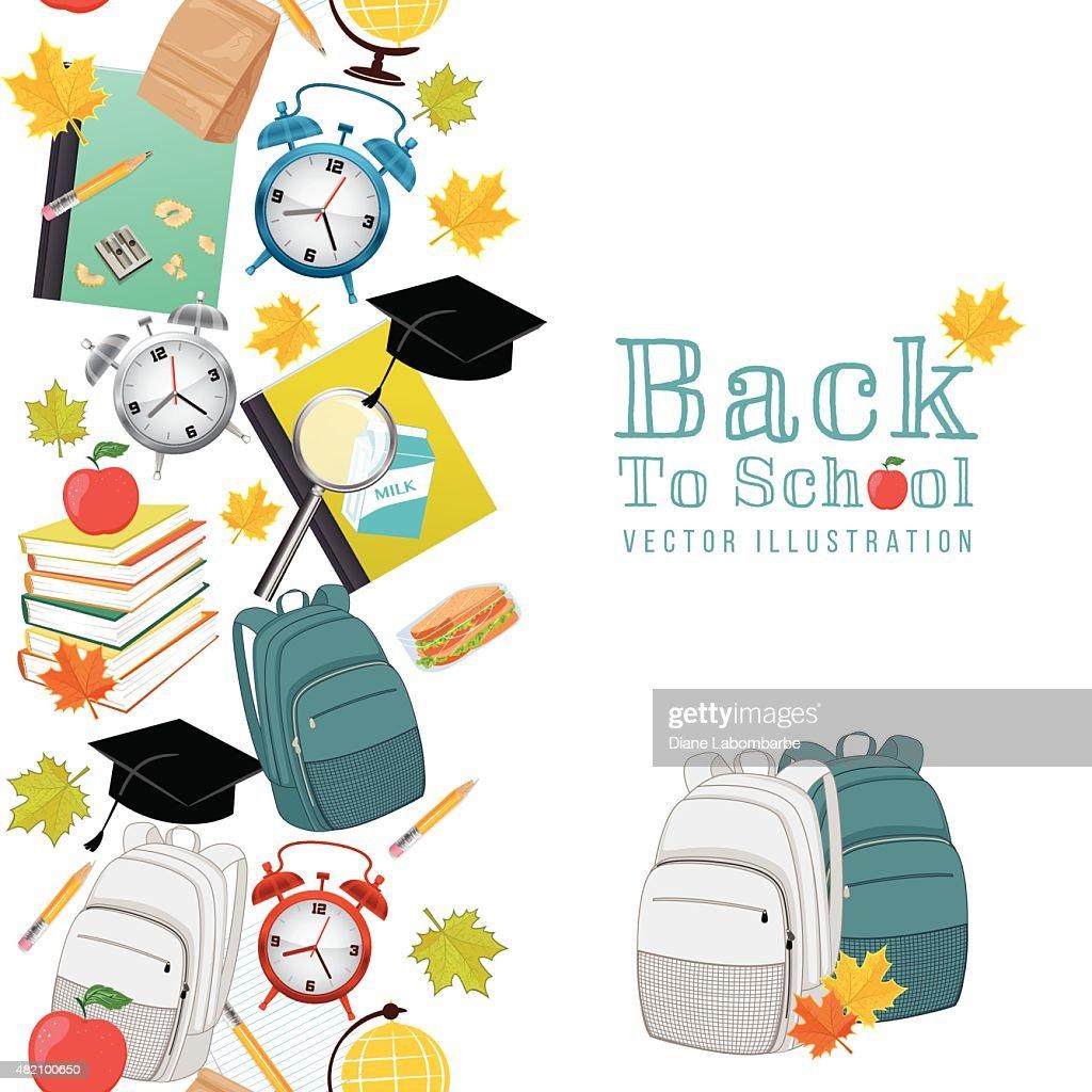 Zurück zu Schule Zubehör Hintergrund mit nahtloser Muster : Stock-Illustration