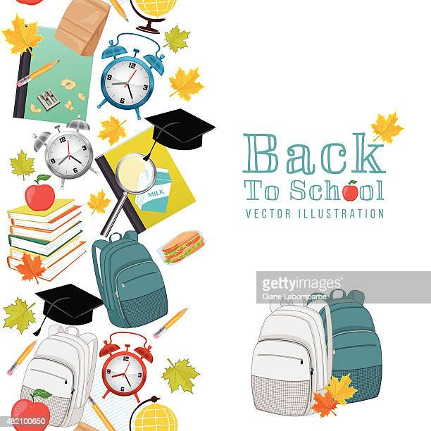 Back To School Supplies Background With Seamless pattern
