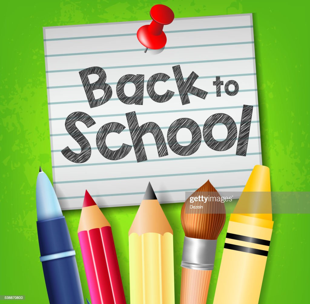 Back to School Text on Pinned Paper with School Supplies