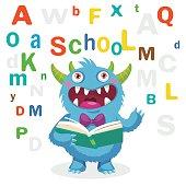 Back to School Theme. Cartoon Monster Mascot.