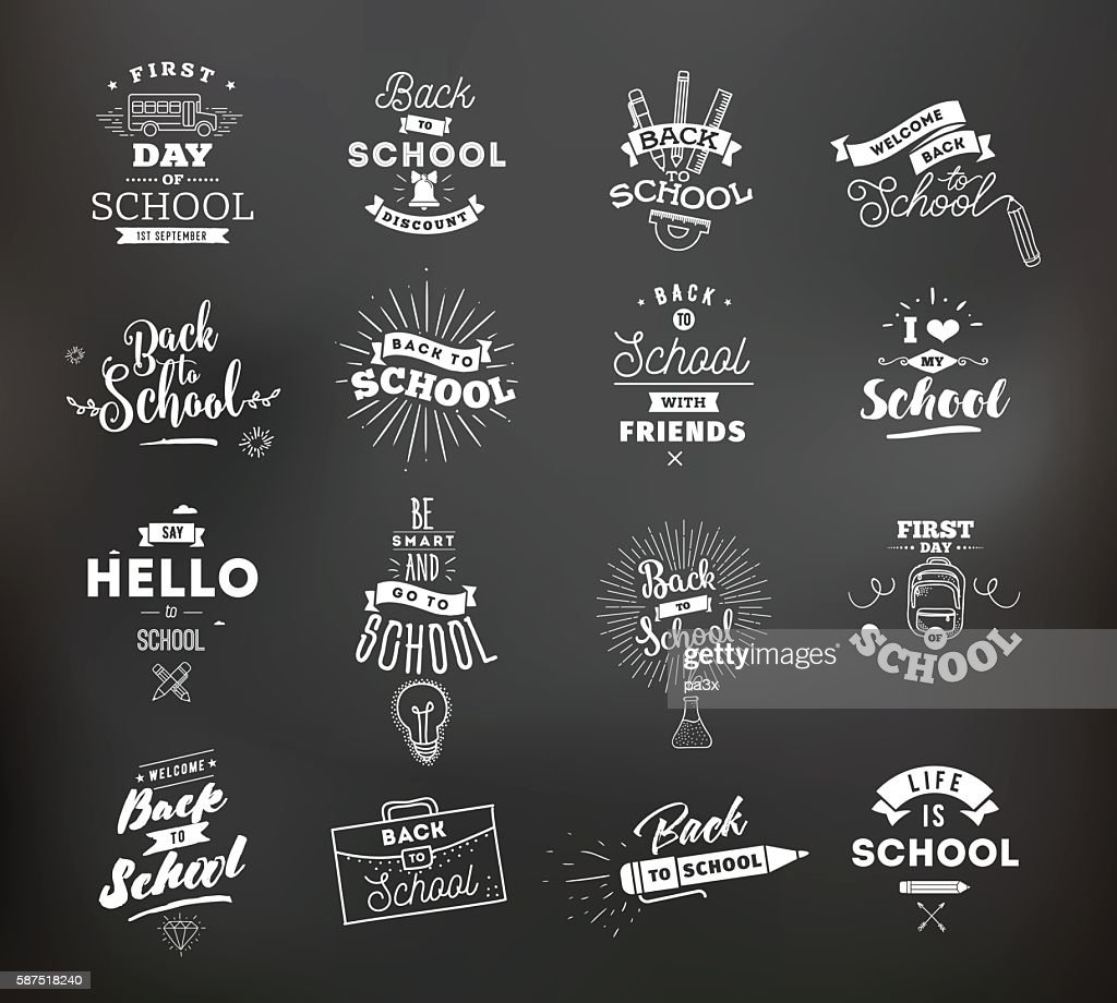 Back to school typographic labels set.