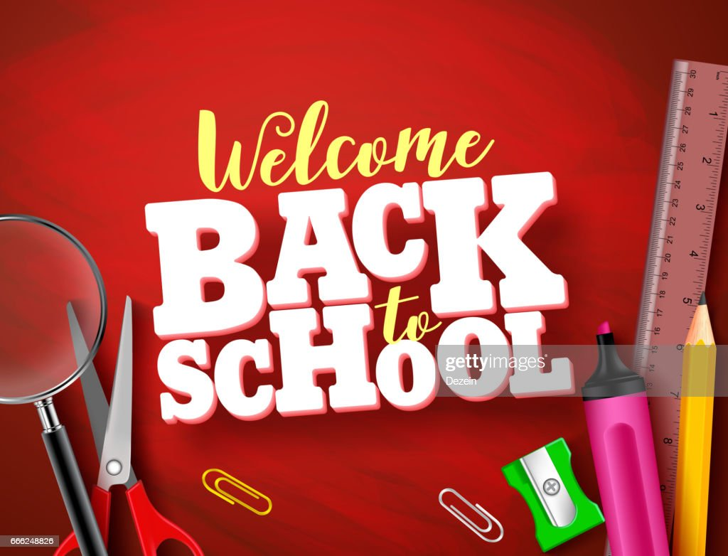 Back to school vector banner design in red texture background