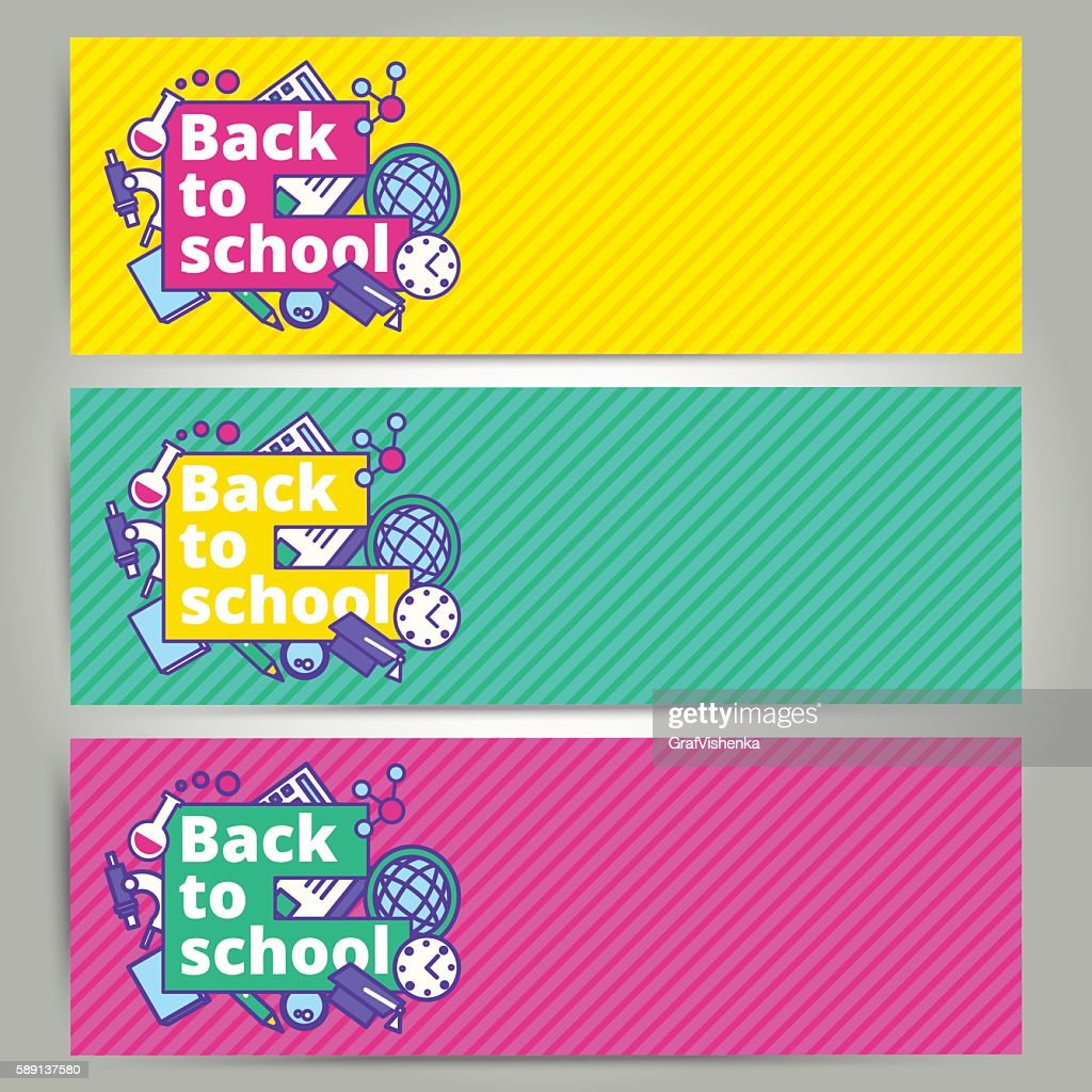Back to school vector banner or bookmark template design.