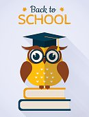 Back to school vector card with owl.