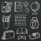 Back to school vector chalk sketch set. School stuff in hand drawn doodles style. Set of supplies for pupils on chalkboard background. Elements for your design. Eps 10