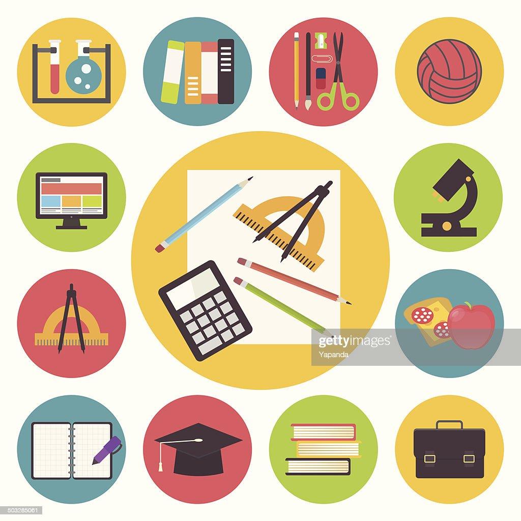 Back to school, vector icons set, flat design illustration. : Vector Art