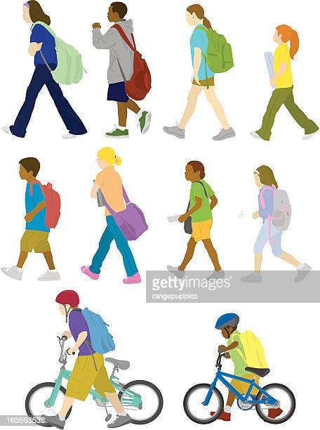 back to school - pedestrian stock illustrations, clip art, cartoons, & icons
