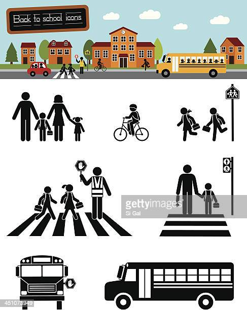 back to school (series) - pedestrian stock illustrations, clip art, cartoons, & icons