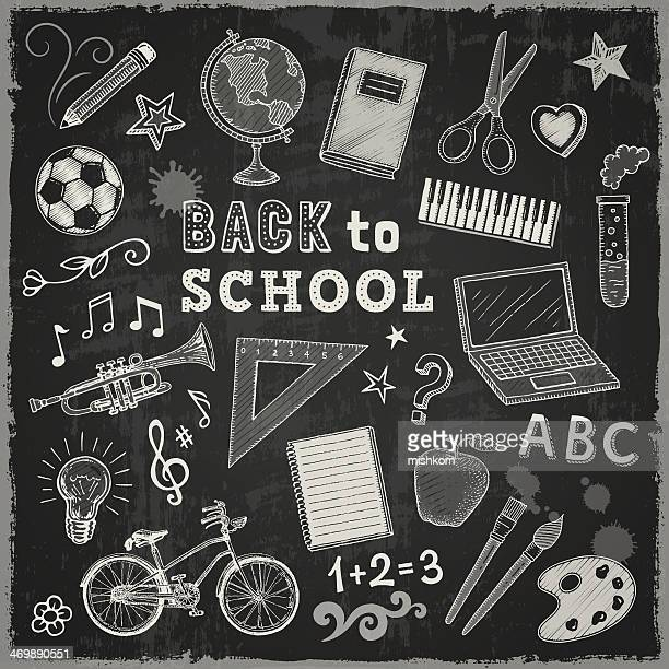 back to school - chalk art equipment stock illustrations, clip art, cartoons, & icons