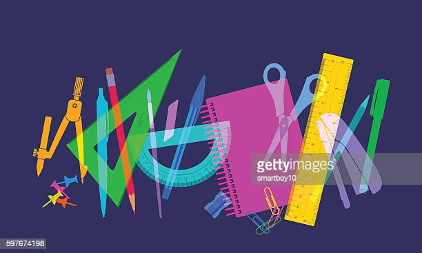 back to school - pencil case stock illustrations