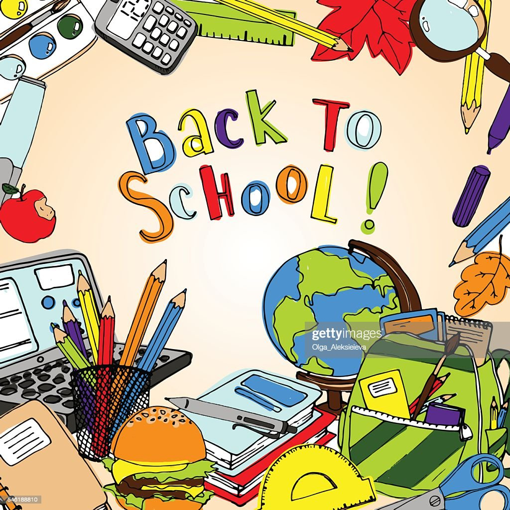 Back to school vector illustration. Colorful background for note