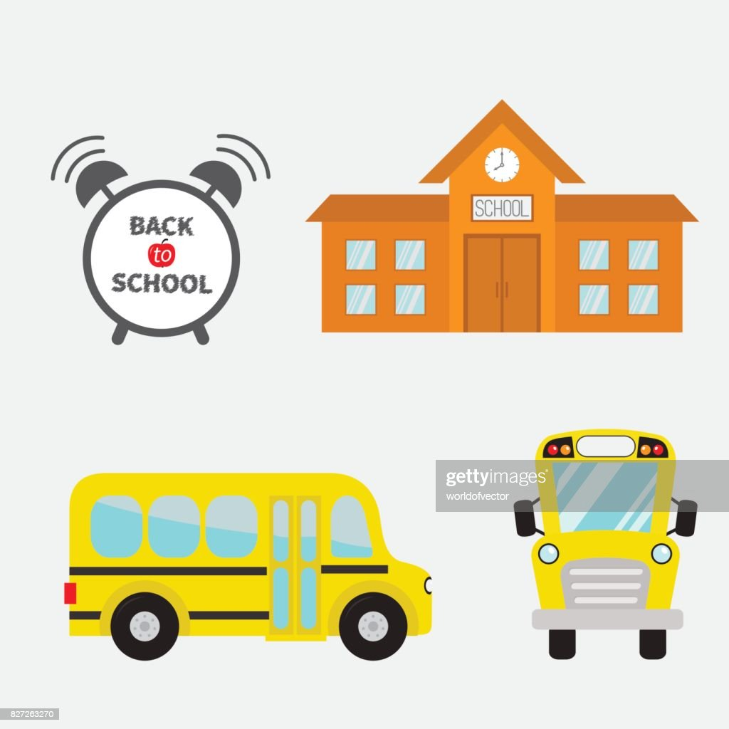 Back to school. Yellow bus set. Transportation. Alarm clock. Building Cartoon clipart. collection. Side, front view. Flat design. Isolated White background.